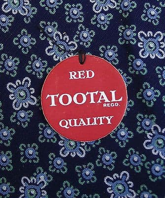 Vintage 1950s Tootal tie Navy blue UNUSED floral Red Quality Tebilized Cotton
